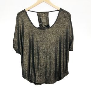 Juicy Couture |  Black/ Gold Short Sleeve Blouse
